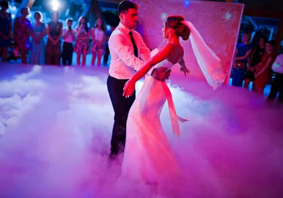 47331027 - amazing first wedding dance on heavy smoke